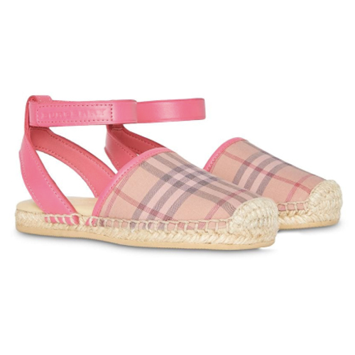 Check and Leather Espadrille Sandals - Burberry Kids