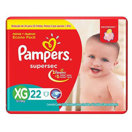 Fraldas Descartaveis Pampers Supersec XG - 22un