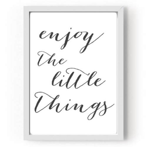 "Quadro ""Enjoy the little things"" Preto - M"
